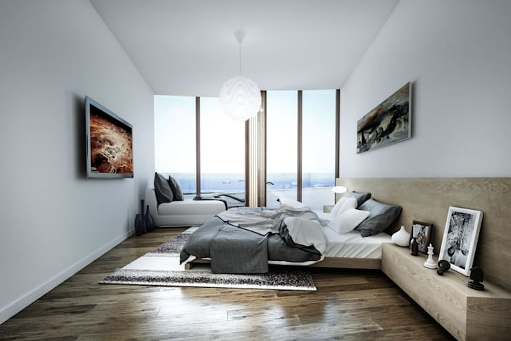 ​3d architectural interior visualisation for Selenium Ataköy project in İstanbul by RedWhite:  Bedroom by REDWHITE CA