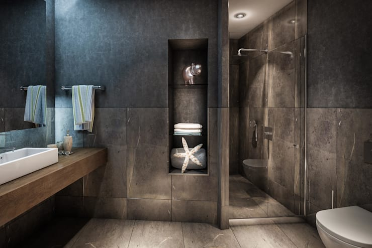 ​3d architectural interior visualisation for Selenium Ataköy project in İstanbul by RedWhite:  Bathroom by REDWHITE CA