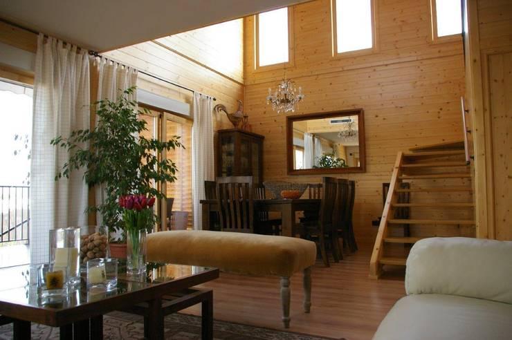 Techo doble altura con ventanas verticales.: Salones de estilo moderno de Casas Natura