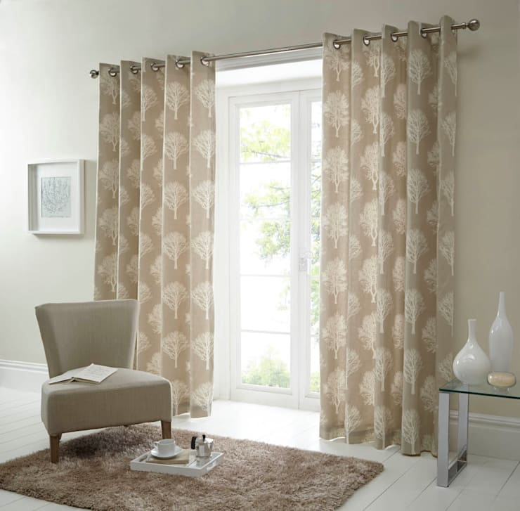 Woodland Trees Ring Top Ready Made Curtains:  Living room by Century Mills