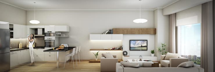 ​3d architectural interior visualisation for Cendere project in İstanbul, Turkey by RedWhite:  Living room by REDWHITE CA