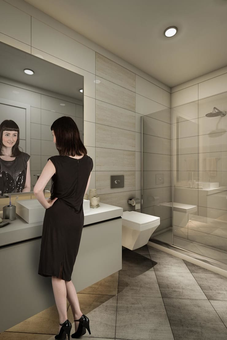 ​3d architectural interior visualisation for Cendere project in İstanbul, Turkey by RedWhite:  Bathroom by REDWHITE CA