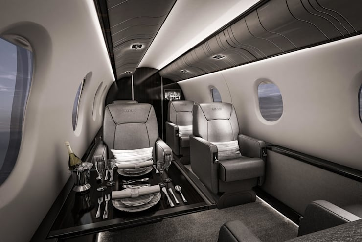 3d interior visualisation project of one of Pilatus aircrafts by RedWhite Creative Agency :  Yachts & jets by REDWHITE CA
