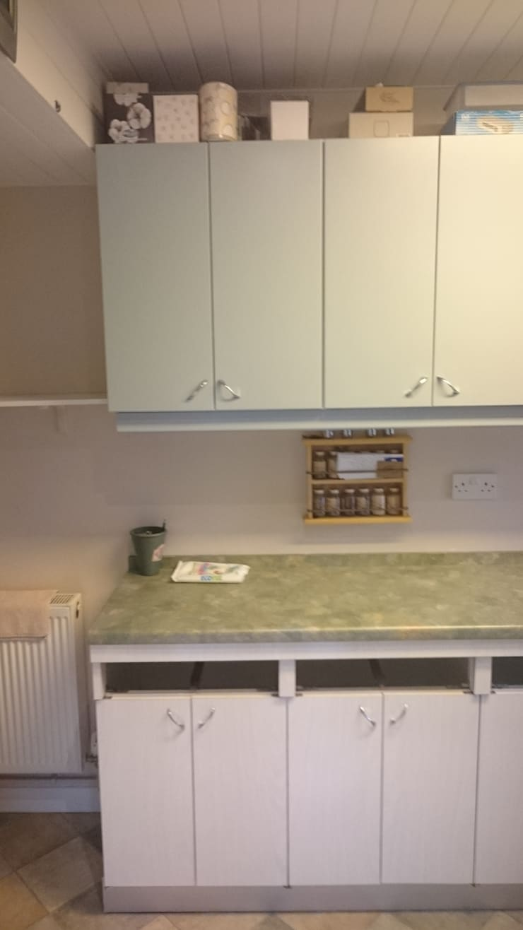 Kitchen cupboard doors before makeover:   by The Kitchen Makeover Shop Ltd