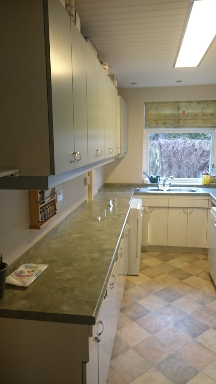 Kitchen worktops and sink before makeover:   by The Kitchen Makeover Shop Ltd