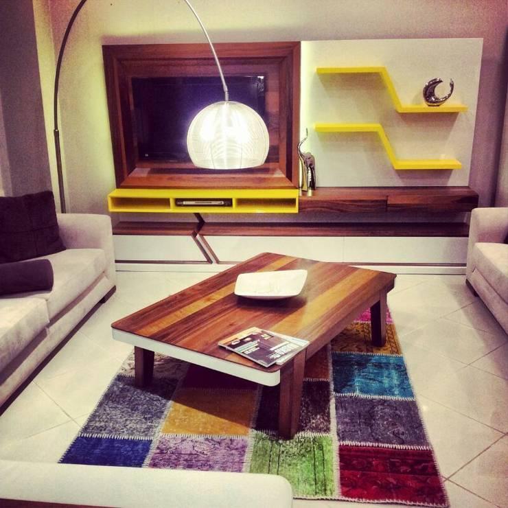 villa art – Lotus TV ünitesi: modern tarz Oturma Odası