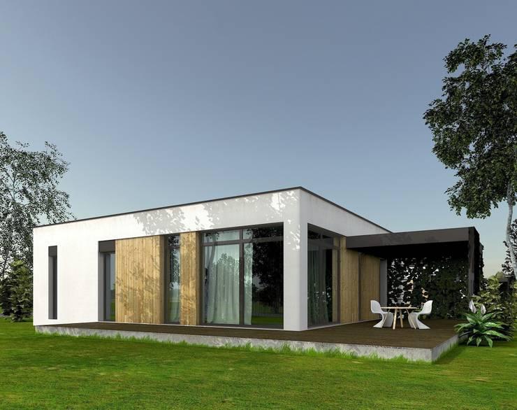 widok od strony ogrodu: styl , w kategorii  zaprojektowany przez ASYMETRIK architektura,