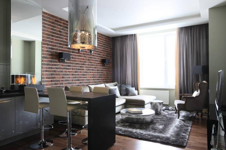 Апартаменты в жк <q>Авеню 77</q> / Москва: Гостиная в . Автор – Бюро TS Design