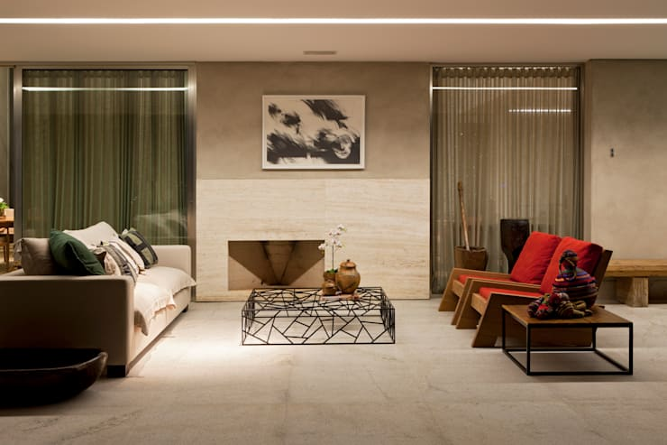 Casa Condomínio Nova Lima: Terraços  por Nara Cunha Arquitetura e Interiores