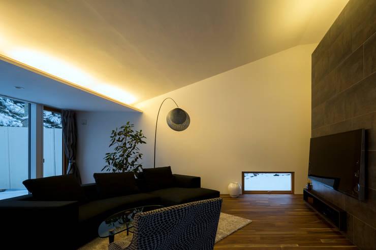 YMT residence 03: 浅香建築設計事務所 asaka architectural designが手掛けたリビングです。