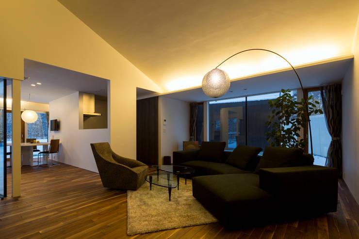 YMT residence 05: 浅香建築設計事務所 asaka architectural designが手掛けたリビングです。
