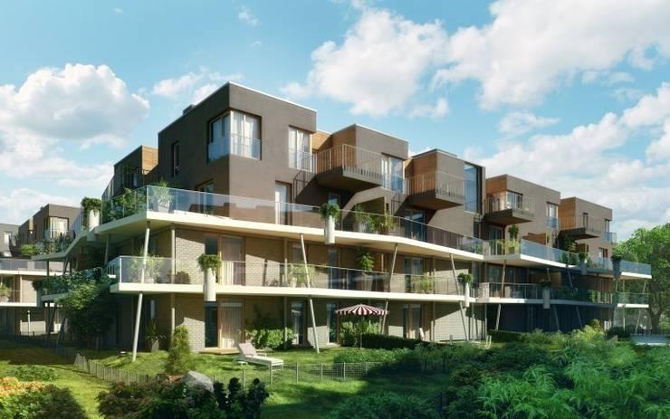 osiedle mieszkaniowe Marina, ul Krzyżówki, Warszawa- projekt: styl , w kategorii Domowe biuro i gabinet zaprojektowany przez Marek Rytych