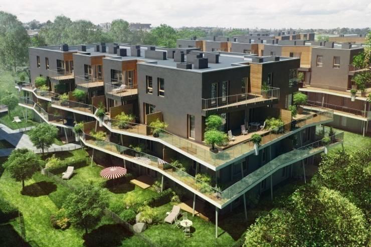 osiedle mieszkaniowe Marina, ul Krzyżówki, Warszawa- projekt: styl , w kategorii Domy zaprojektowany przez Marek Rytych