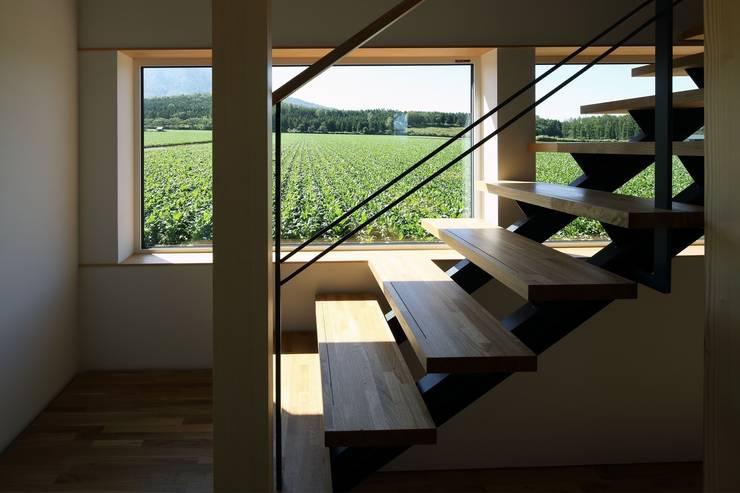 羊蹄山ファームハウス: 株式会社 遠藤建築アトリエが手掛けた廊下 & 玄関です。