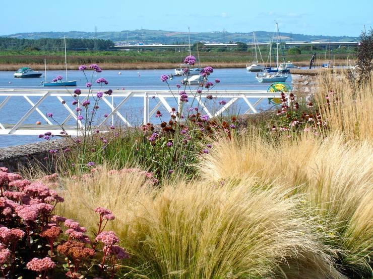 Coastal garden and pontoon:  Garden by Roger Webster Garden Design