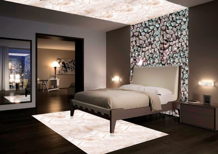 Black Mother of Pearl and Back lit Crystal Quartz :  Bedroom by INSPIRATIONS AND INNOVATIONS Ltd.