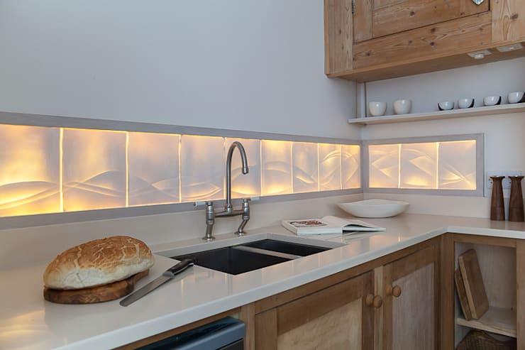 Rising Tide - Translucent kitchen splashback:  Artwork by Flux Surface