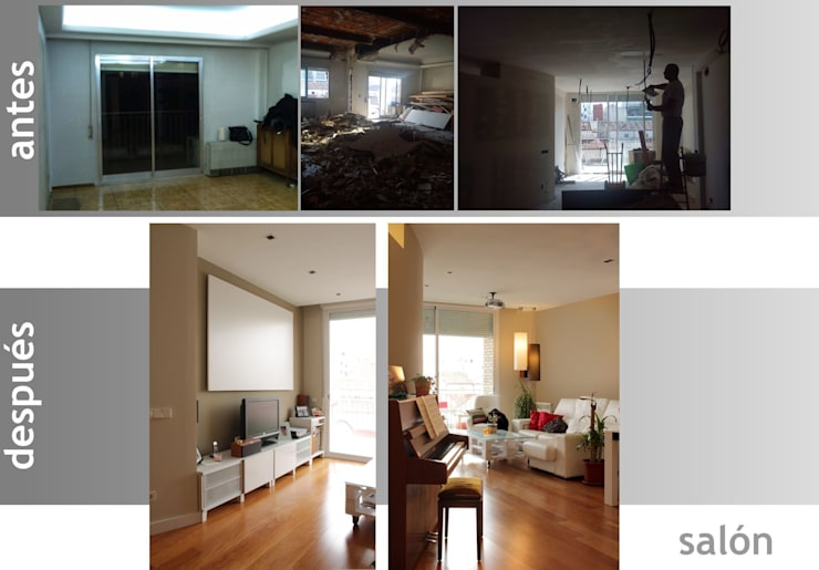 antes y después de un salón:  de estilo  de elementos interiorismo y diseño