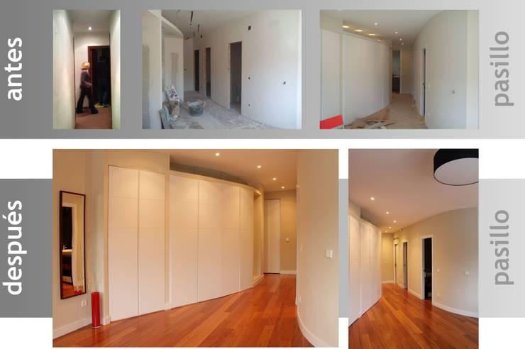 antes y después en pasillo y armarios:  de estilo  de elementos interiorismo y diseño