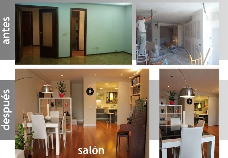 antes y después de comedor y hall de entrada:  de estilo  de elementos interiorismo y diseño