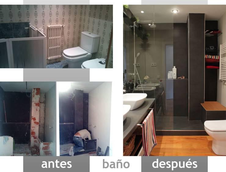 antes y después de baño principal:  de estilo  de elementos interiorismo y diseño