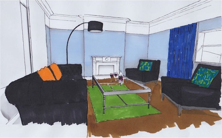 Living Room, Presentation Sketch:   by Cathy Phillips & Co