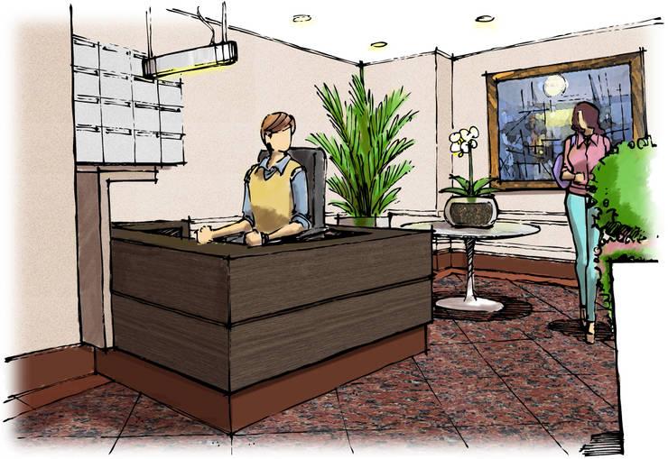 Hall Residencial: Corredores e halls de entrada  por Blacher Arquitetura