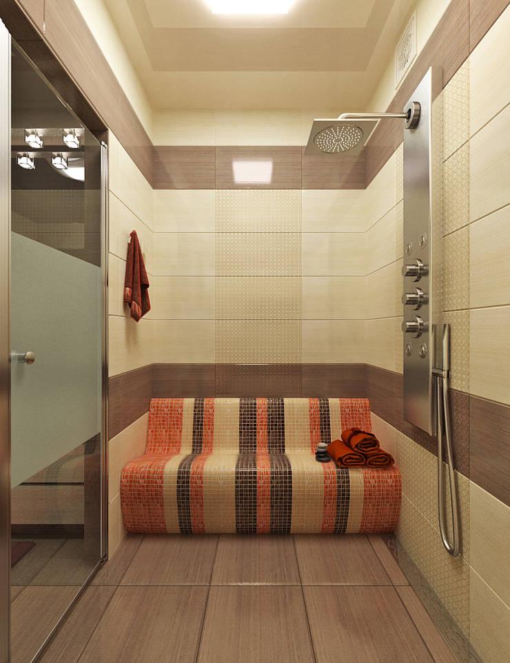 Яркая ванная комната с хамамом: Ванные комнаты в . Автор – Студия дизайна Interior Design IDEAS, Модерн