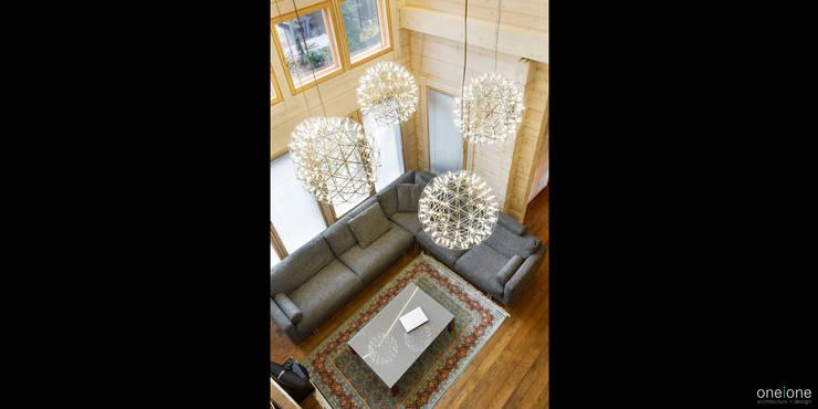 Вид с балкона второго этажа: Гостиная в . Автор – oneione