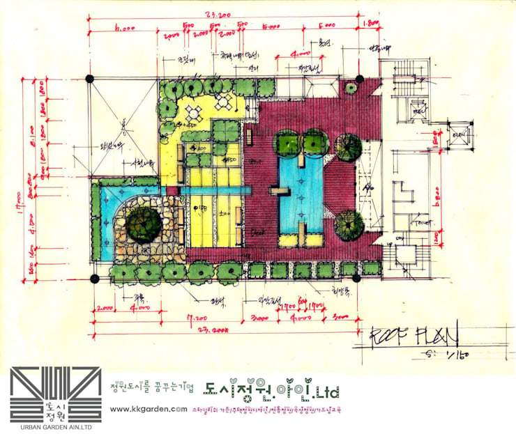 roof garden-양재빌딩 : Urban Garden AIN.Ltd의  정원
