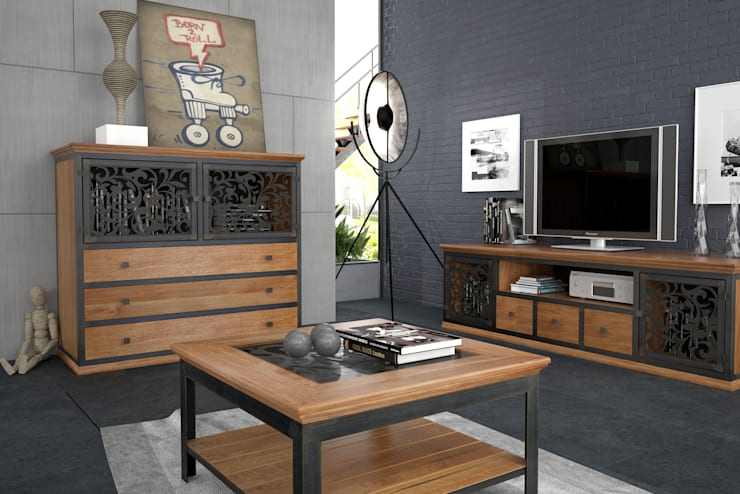 zestaw VINTAGE: styl , w kategorii Salon zaprojektowany przez John Carpenter INDUSTRIAL,
