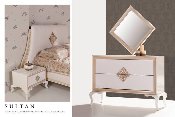 Trabcelona Design – Sultan şifonyer başlık komidin:  tarz Yatak Odası
