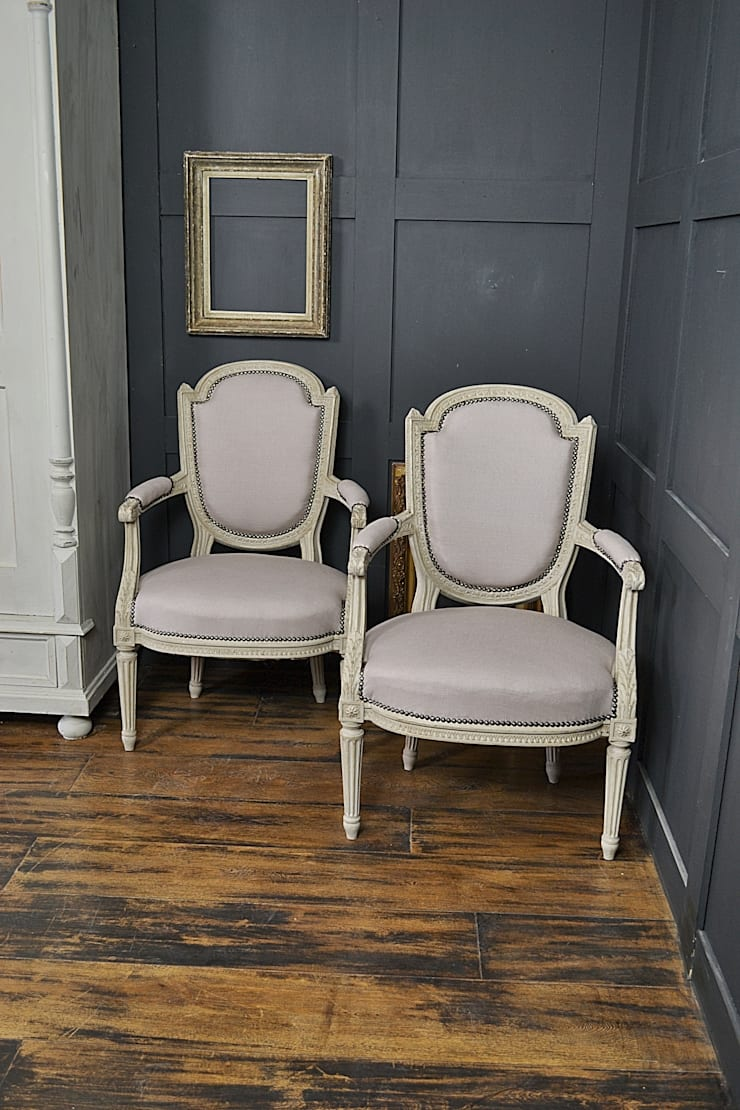 Pair of French Shabby Chic Painted Open Armchairs:  Living room by The Treasure Trove Shabby Chic & Vintage Furniture