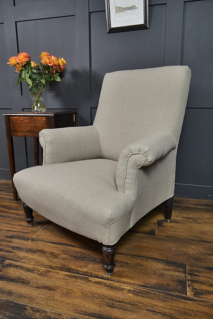 Small French Calico Square Antique Armchair:  Living room by The Treasure Trove Shabby Chic & Vintage Furniture