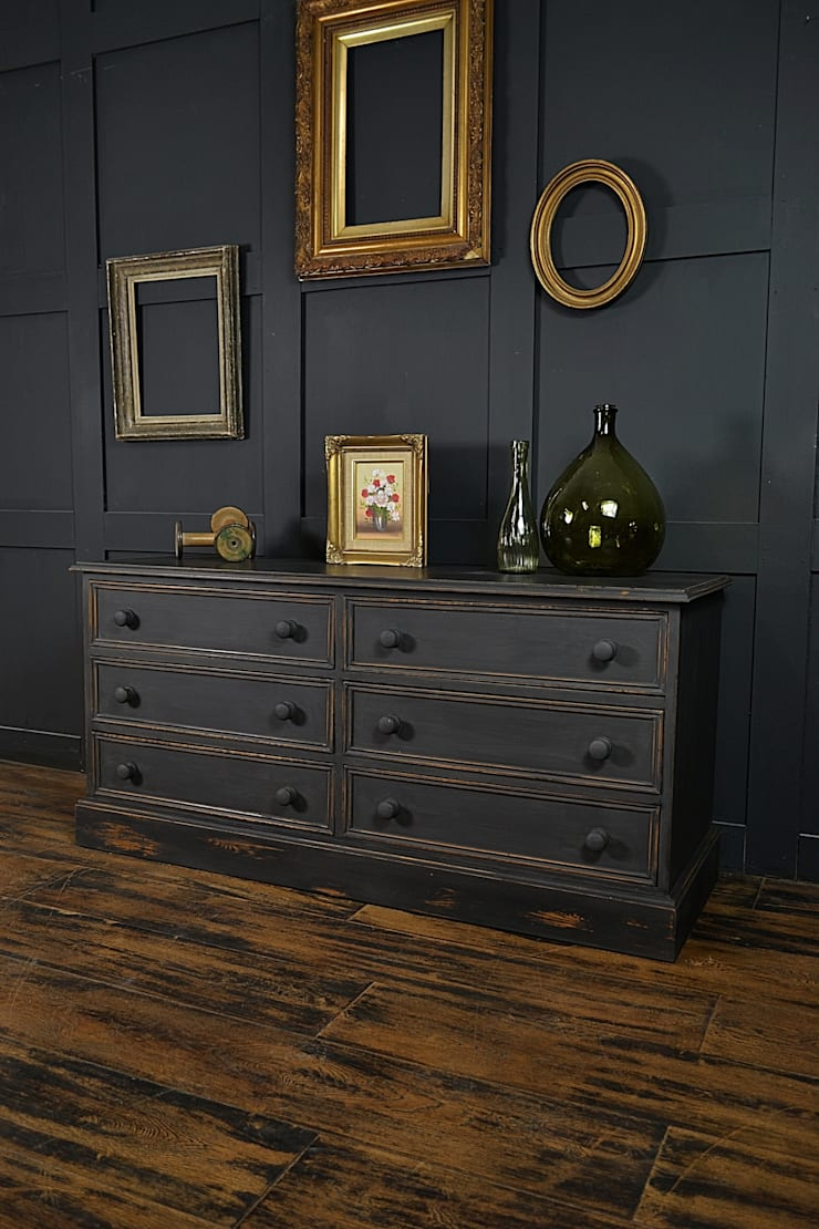 Black Low Level Shabby Chic Chest of Drawers:  Living room by The Treasure Trove Shabby Chic & Vintage Furniture