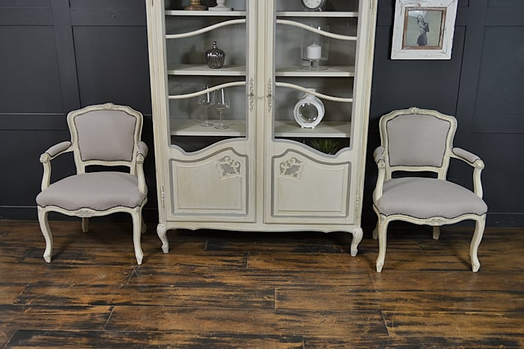 Pair of French Louis Style Chairs in Old White & Paris Grey:  Living room by The Treasure Trove Shabby Chic & Vintage Furniture