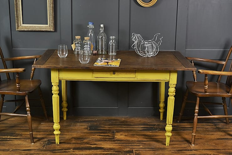 Reclaimed Top Shabby Chic Yellow Dining/Side Table :  Dining room by The Treasure Trove Shabby Chic & Vintage Furniture