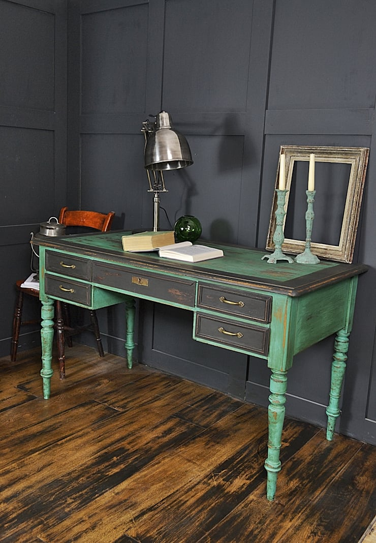 Black & Green Victorian 5 Drawer Desk :  Study/office by The Treasure Trove Shabby Chic & Vintage Furniture