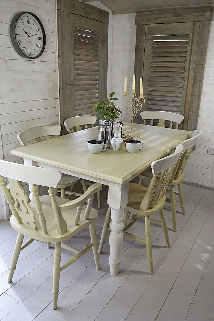 6 Seater Shabby Chic Farmhouse Dining Set:  Kitchen by The Treasure Trove Shabby Chic & Vintage Furniture