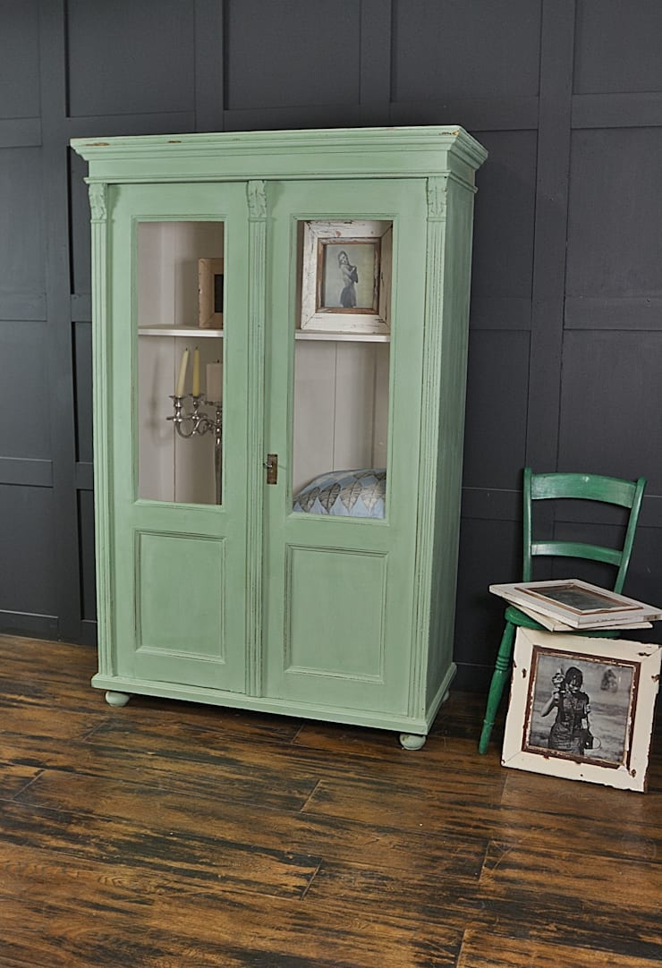 Mint Green Antique Glass Display Cabinet