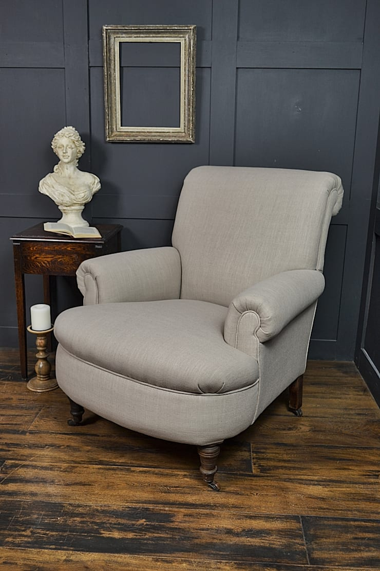 Antique French Scroll Back Armchair on Castors :  Living room by The Treasure Trove Shabby Chic & Vintage Furniture