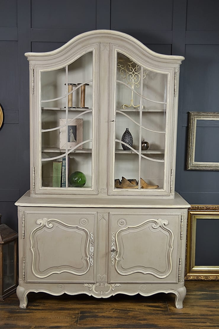 French Glass Display Cabinet with Cupboard :  Living room by The Treasure Trove Shabby Chic & Vintage Furniture