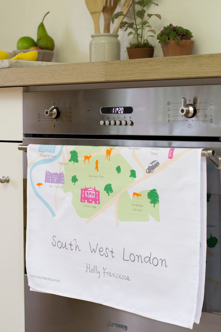 South West London - Screenprinted Tea Towel:  Kitchen by Holly Francesca