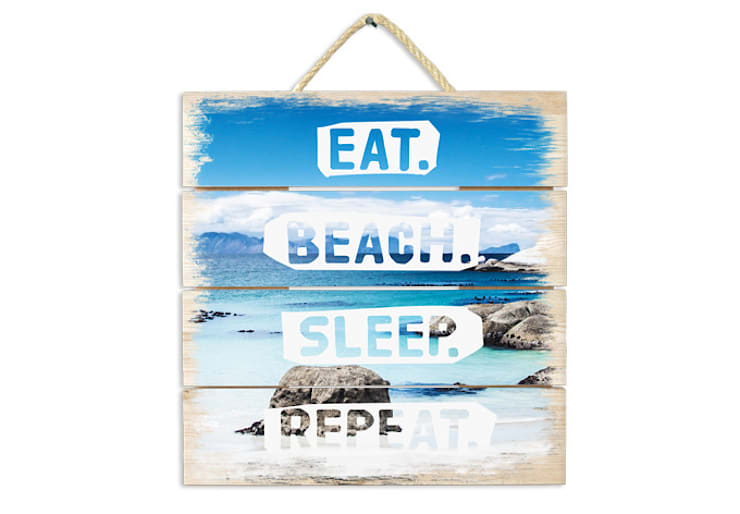 Holzbilder - Eat. Beach. Sleep. Repeat.:   von K&L Wall Art,Mediterran