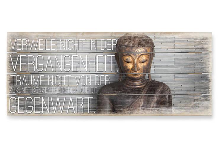 Holzbild Verweile nicht in der Vergangenheit - Panorama:   von K&L Wall Art,Asiatisch