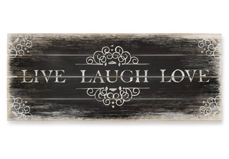 Holzbild LOVE LAUGH LOVE - Panorama:   von K&L Wall Art,Landhaus