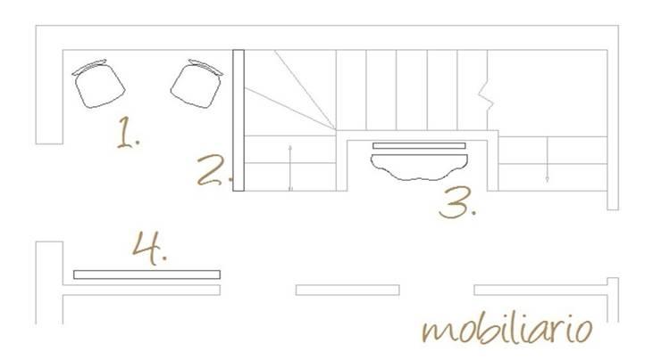 Plano de actuaciones. Mobiliario:  de estilo  de A H Decoración e interiorismo