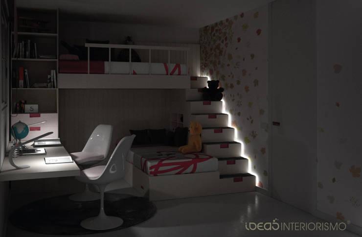 Dormitorio juvenil Irene y Natalia.: Dormitorios de estilo  de Ideas Interiorismo Exclusivo, SLU