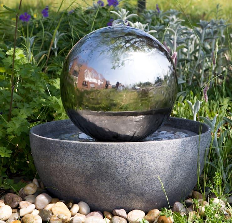 Eclipse Stainless Steel Sphere Water Feature:  Garden  by Primrose