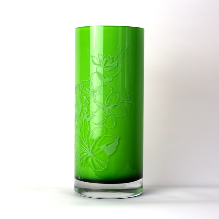 Hibiscus & Frangipan Green Vase:  Artwork by Sara Newman Design